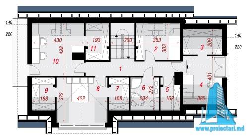 mansarda Proiect de casa cu parter, mansarda si garaj pentru un automobil-100626