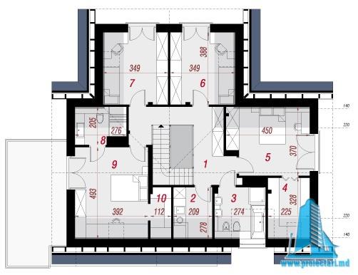 mansarda Proiect de casa cu parter, mansarda si garaj pentru doua automobile