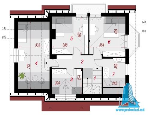 plan mansarda Proiect de casa cu mansarda si  garaj pentru un automobil