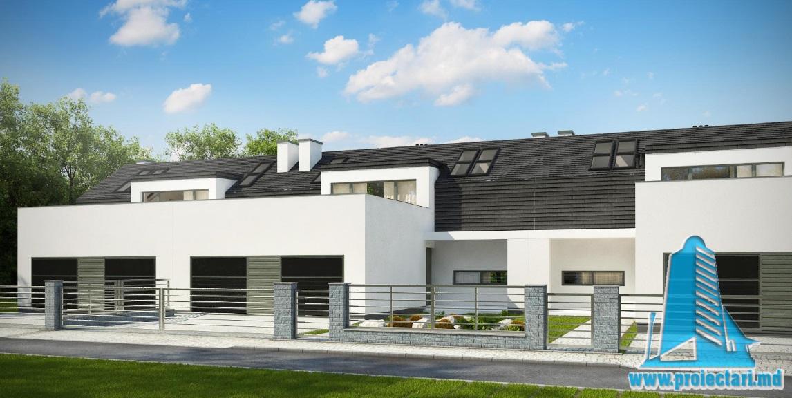 Proiect de casa duplex cu parter, etaj si garaj pentru doua automobile-100811