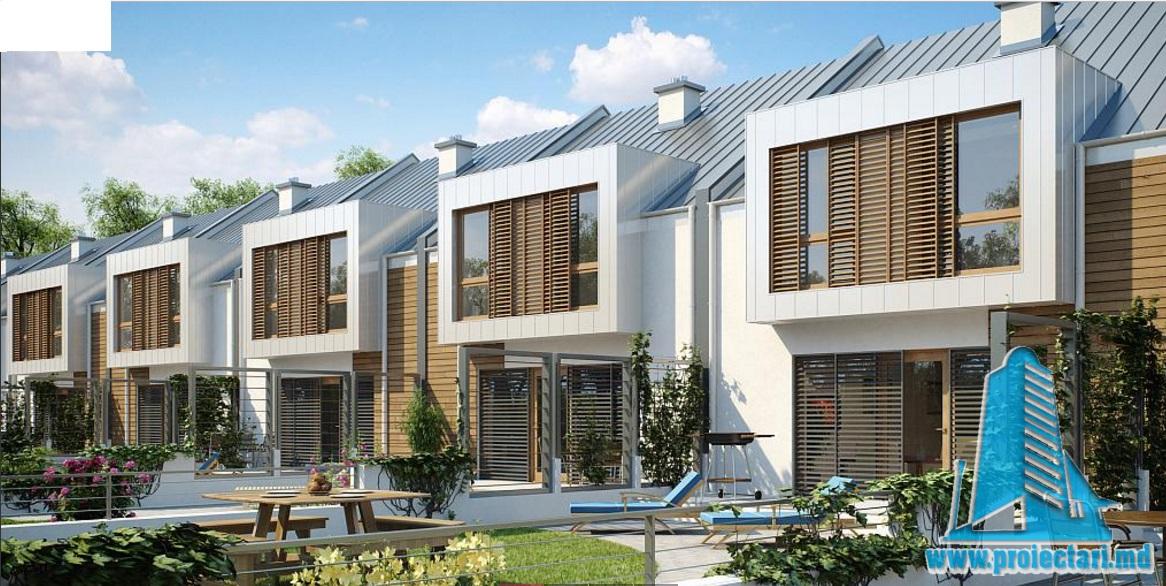 Proiect de casa cu parter, etaj si garaj pentru un automobil -100727