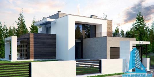 Proiect de casa cu parter, etaj si garaj pentru doua automobile-100762