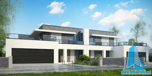 Proiect de casa duplex cu parter, etaj si garaj pentru doua automobile -100758
