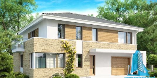 Proiect de casa cu parter, etaj si garaj pentru un automobil-100756