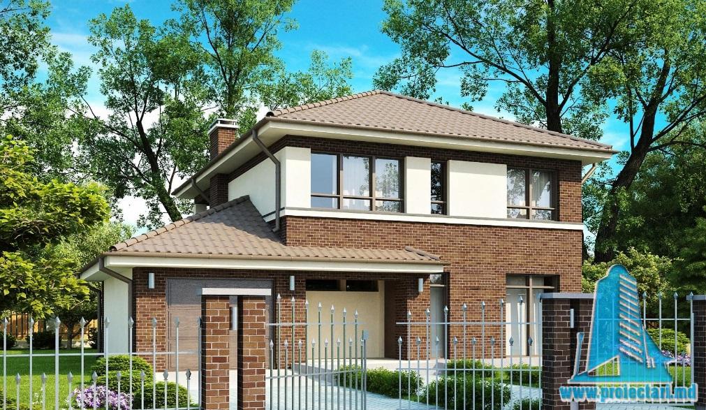 Proiect de casa cu parter, etaj si garaj pentru un automobil-100805
