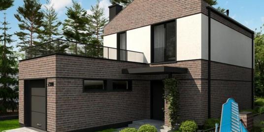 Proiect de casa cu parter, etaj si garaj pentru un automobil-100731