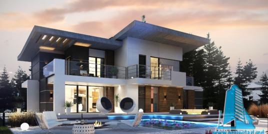 Proiect de Casa cu parter, etaj si garaj pentru doua automobile – 100751