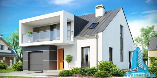 Proiect de casa cu parter, etaj si garaj pentru un automobil-100749