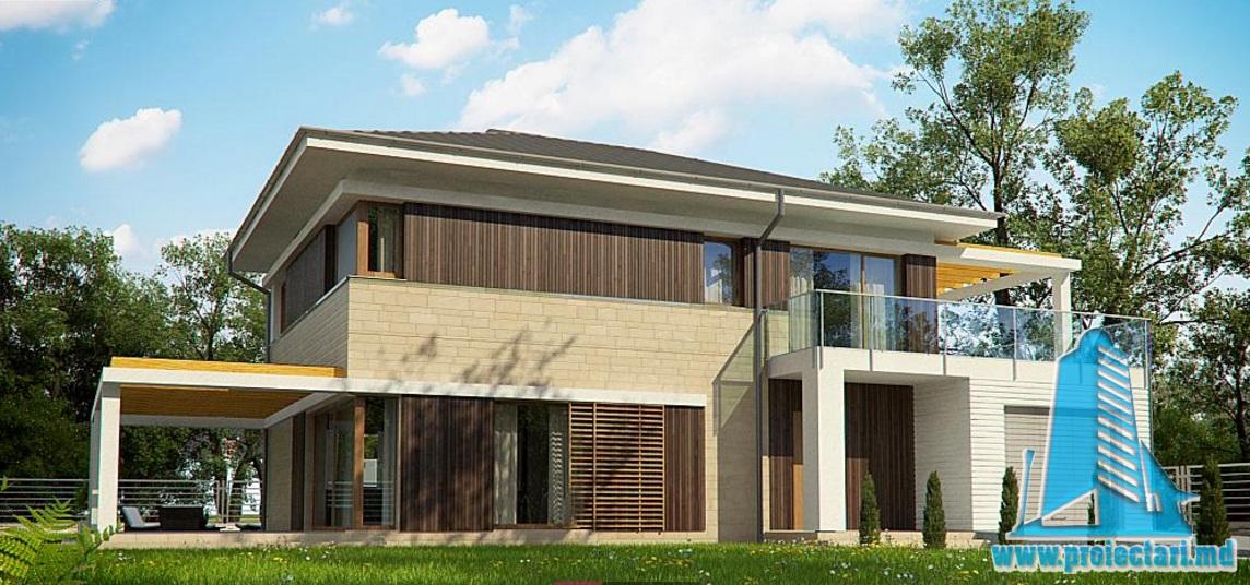 Proiect de casa cu parter, etaj si garaj pentru un automobil-100726