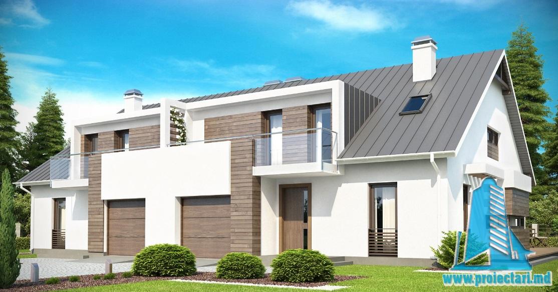 Proiect de casa duplex cu parter, mansarda si garaj pentru un automobil-100764