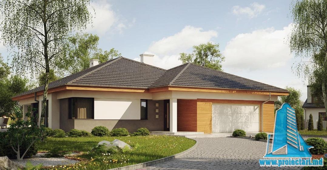 Proiect de casa cu parter si garaj pentru doua automobile-100738
