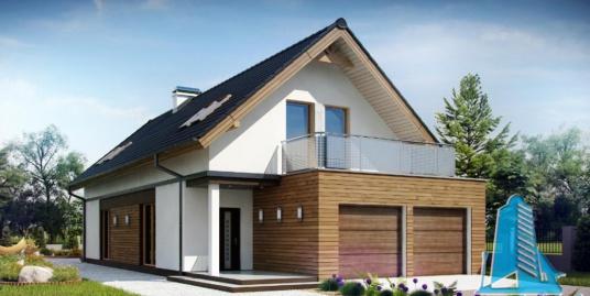 Proiect de casa cu parter, mansarda si garaj pentru doua automobile -100770