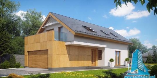 Proiect de casa cu parter, mansarda si garaj pentru doua automobile-100754
