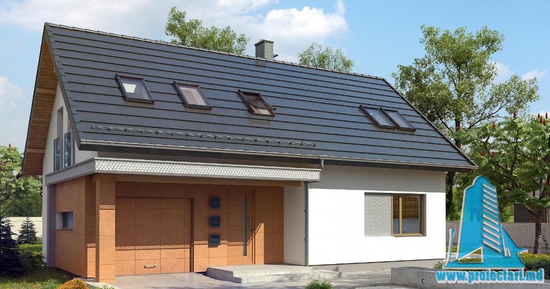 Proiect de casa cu parter, mansarda si garaj pentru un automobil-100776