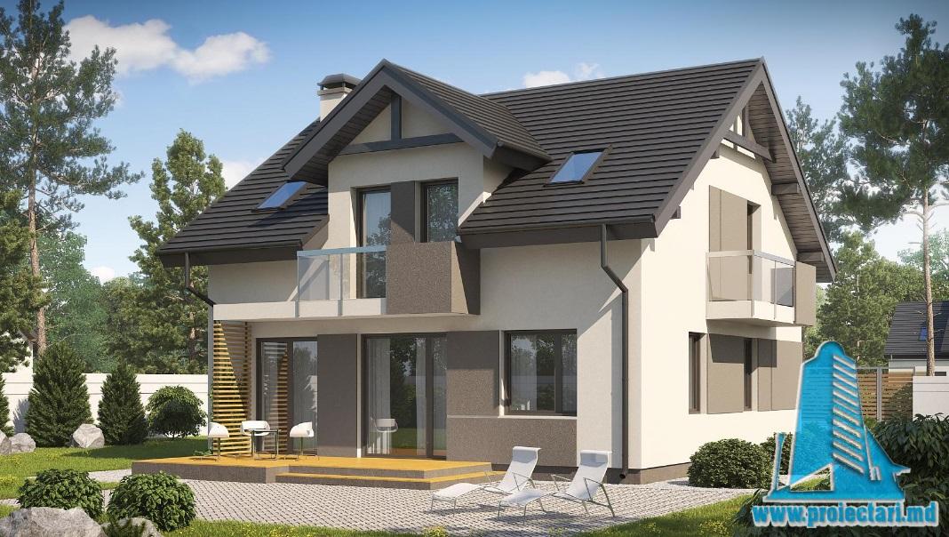 Proiect de casa cu parter si mansarda -100745