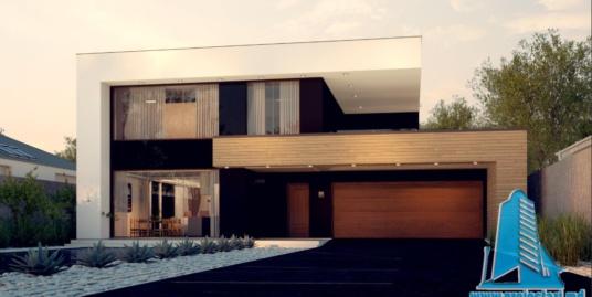 Proiect de casa cu parter, etaj si garaj pentru doua automobile-100820