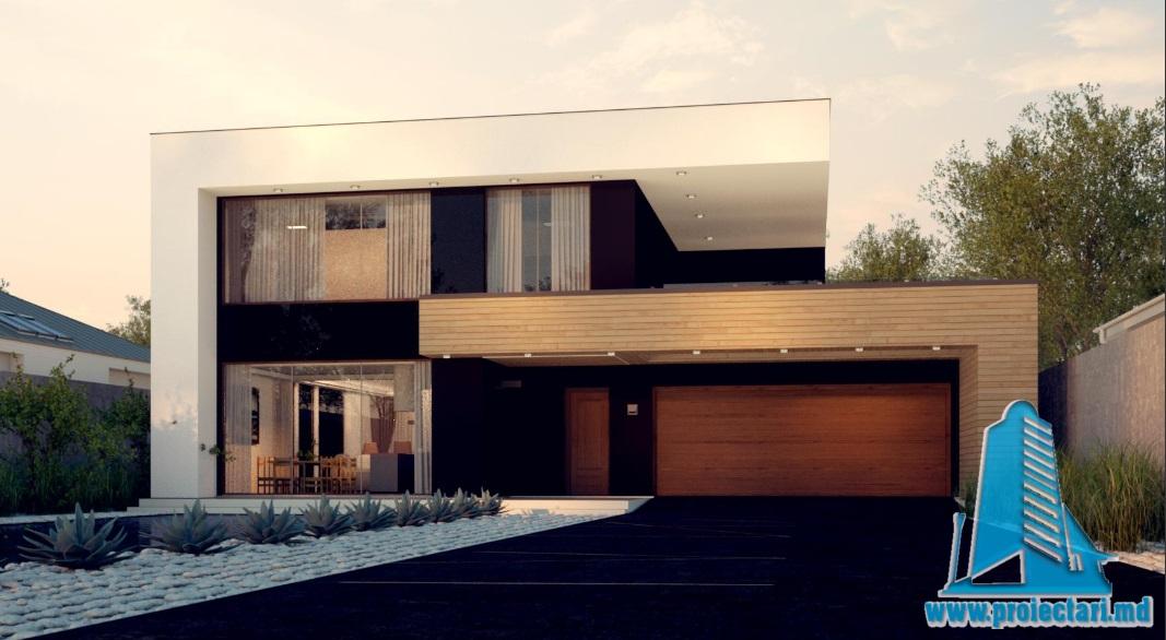 Proiect de casa cu parter, etaj si garaj pentru doua automobile-100779