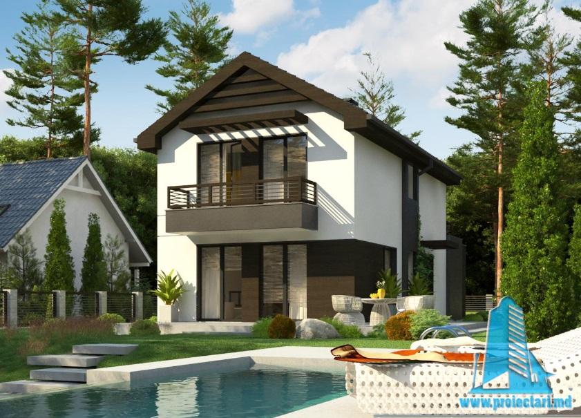 Proiect de casa cu parter, etaj si garaj pentru un automobil-100739