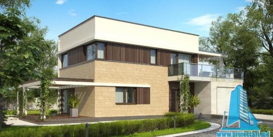 Proiect de casa cu parter, etaj si garaj pentru un automobil-100752