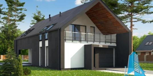 Proiect de casa cu parter, etaj si garaj pentru un automobil-100757