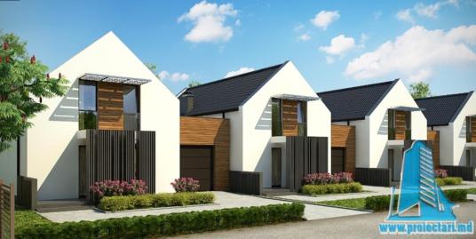Proiect de casa cu parter, etaj si garaj pentru un automobil-100771