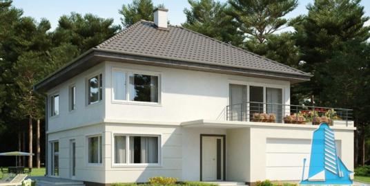 Proiect de casa cu parter, etaj si garaj pentru doua automobile-100822
