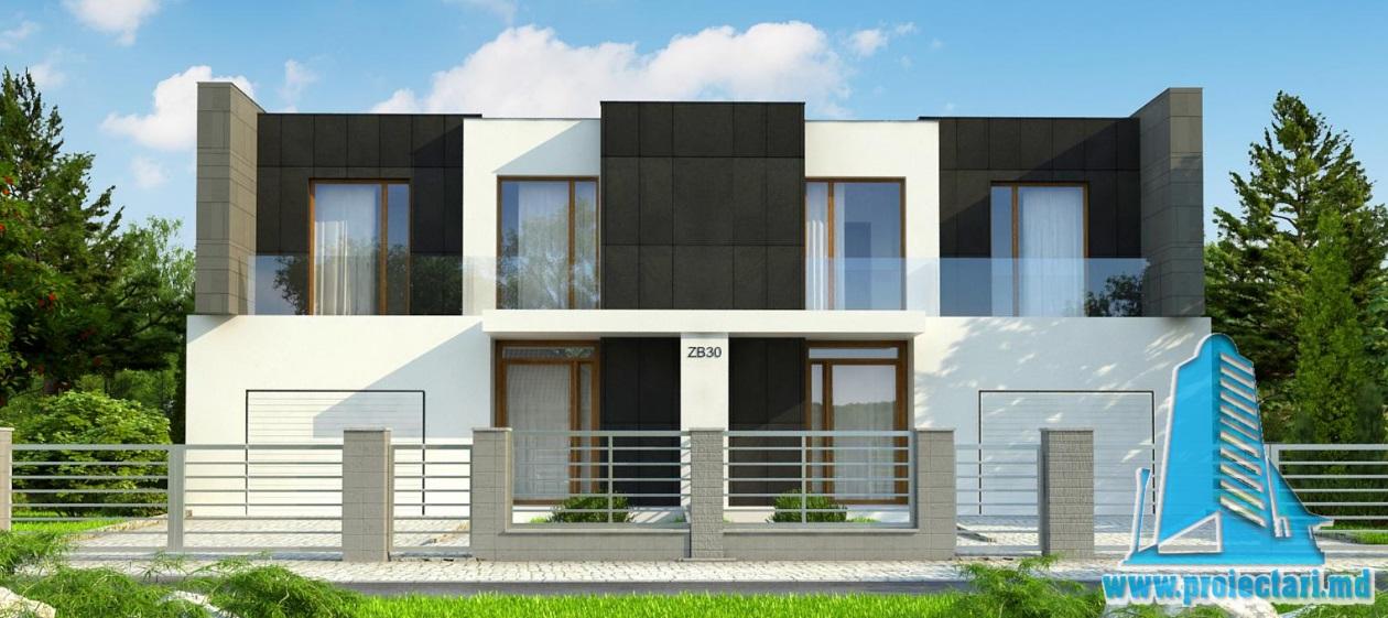 Proiect de casa Duplex cu parter, etaj si garaj pentru un automobil-100723