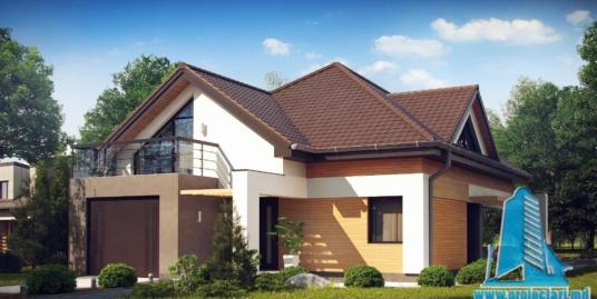 Proiect de casa cu parter, mansarda si garaj pentru un automobil-100810
