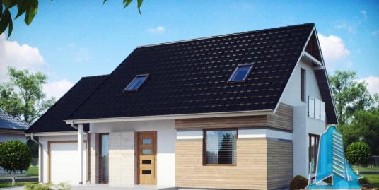 Proiect de casa cu parter, mansarda si garaj pentru un automobil-100744