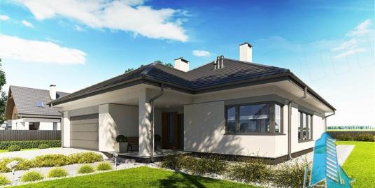 Proiect de casa cu parter si garaj pentru doua masini-100787