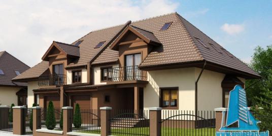 Proiect de casa duplex cu parter, mansarda si garaj pentru un automobil-100808