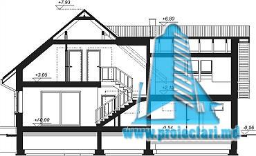 proiect-de-casa-cu-mansarda-si-garaj-pentru-doua-automobile-sectiune