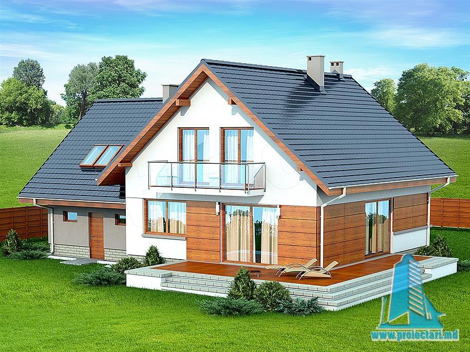 Proiect de casa cu parter mansarda si garaj pentru doua automobile-100972