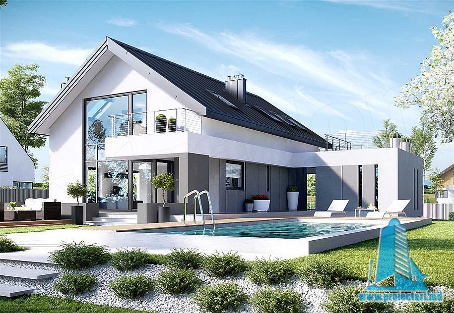 Fatada4; Proiect De Casa Cu Mansarda Si Garaj ...
