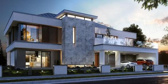 Proiect de casa de locuit cu doua etaje si garaj pentru doua automobile – 100783