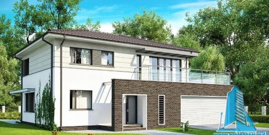 Proiect de casa cu parter, etaj si garaj pentru doua automobile-100888