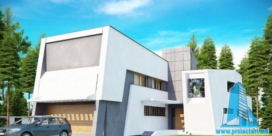 Proiect de casa cu parter, etaj si garaj pentru doua automobile-100882