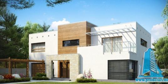 Proiect de casa cu parter, etaj si garaj pentru un automobil-100880