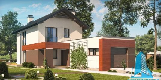Proiect de casa cu parter, etaj si garaj pentru un automobil-100866