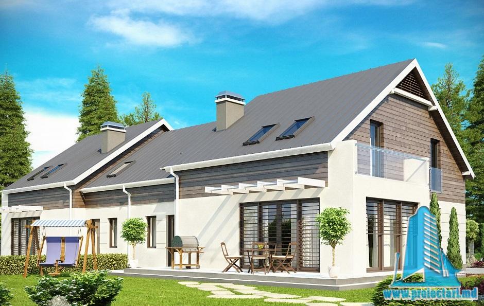 Proiect de casa duplex cu parter, mansarda si garaj pentru un automobil-1007841