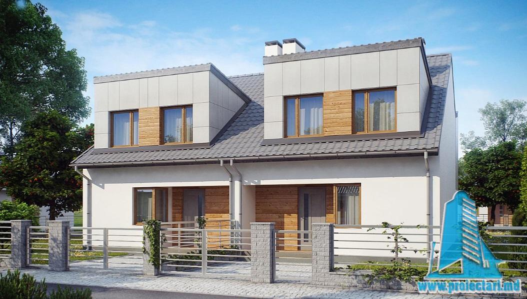 Proiect de casa duplex cu parter si mansarda-100884