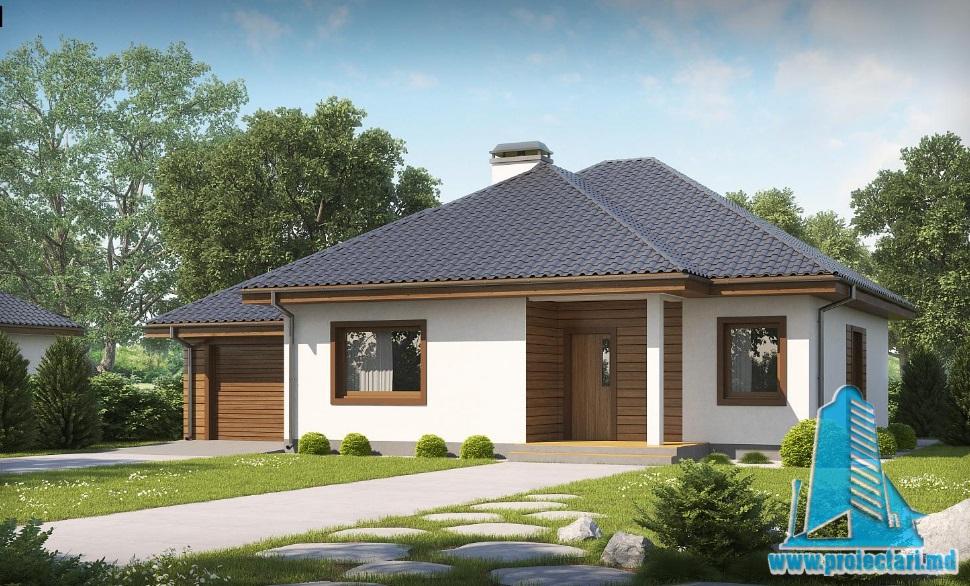 Proiect de casa cu parter si garaj pentru un automobil-100845