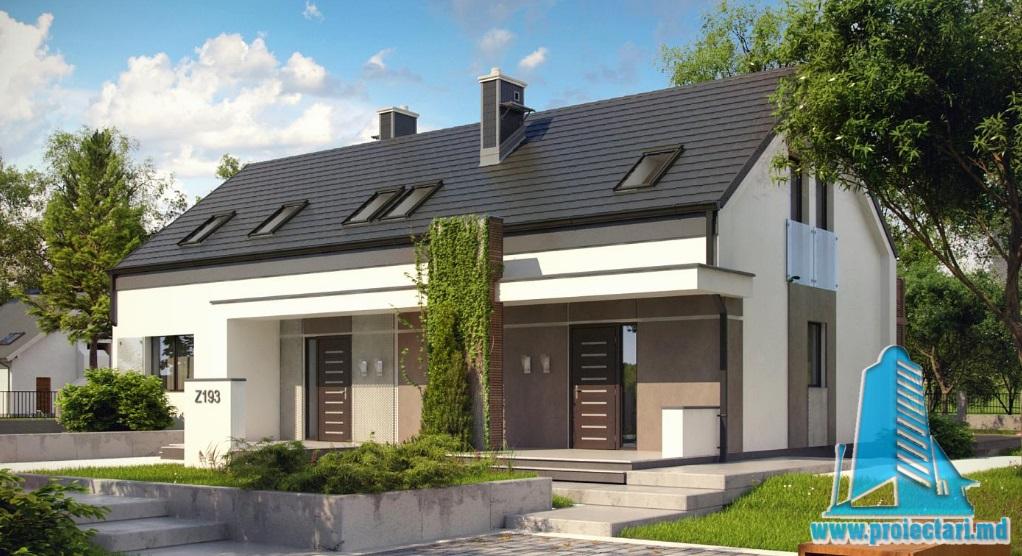 Proiect de casa cu parter si mansarda -100886