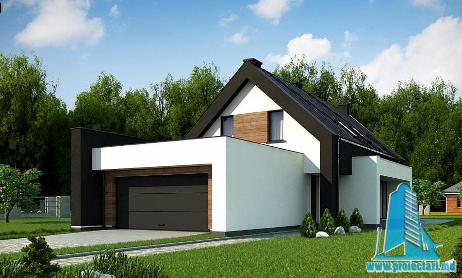 Proiect de casa cu parter, mansarda si garaj pentru doua automobile-100843
