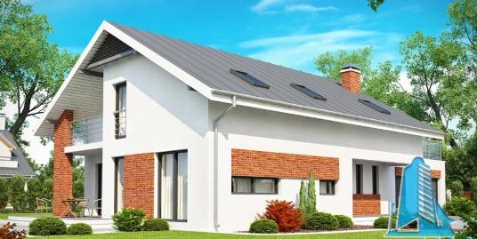 Proiect de casa cu parter, mansarda si garaj pentru doua automobile-100868
