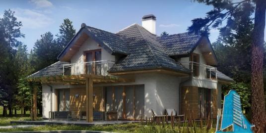 Proiect de casa cu parter, mansarda si garaj pentru doua automobile-100836