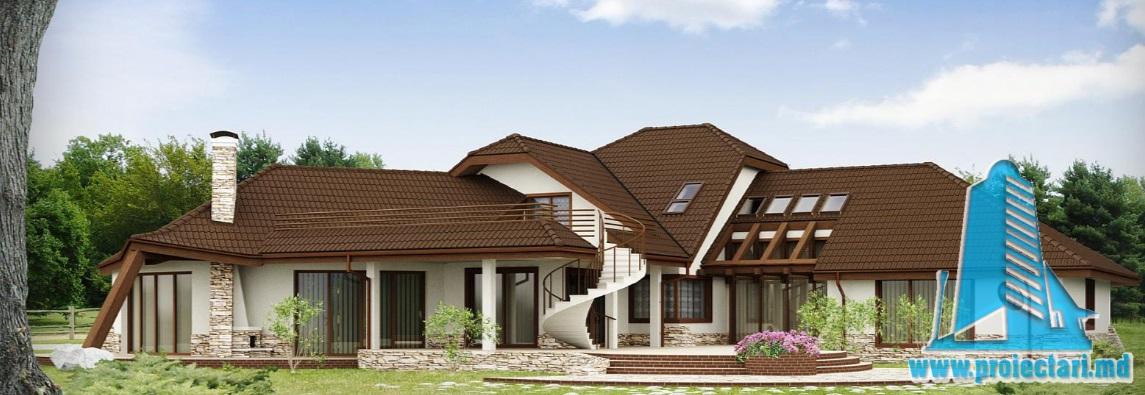 Proiect de casa cu parter, mansarda si garaj pentru doua automobile-100878