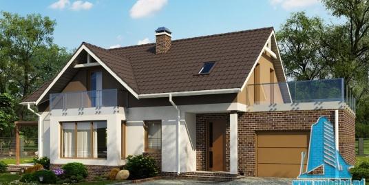 Proiect de casa cu parter, mansarda si garaj pentru un automobil-100857