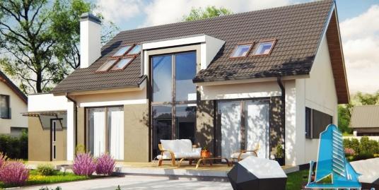 Proiect de casa cu parter, mansarda si garaj pentru un automobil-100862