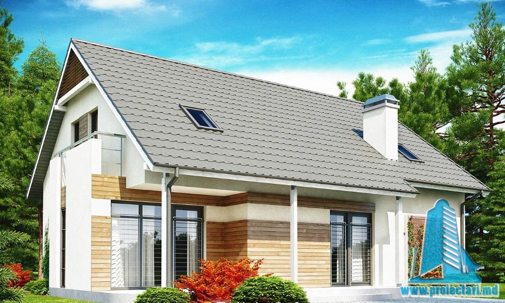 Proiect de casa cu parter, mansarda si garaj pentru un automobil-100853